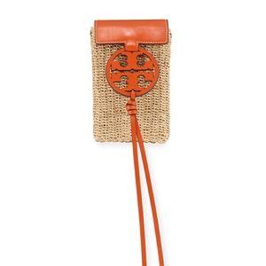 Tory Burch Miller Raffia Smartphone Crossbody Bag